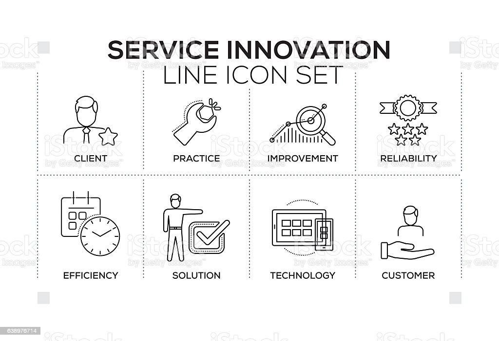 Service Innovation keywords with monochrome line icons vector art illustration