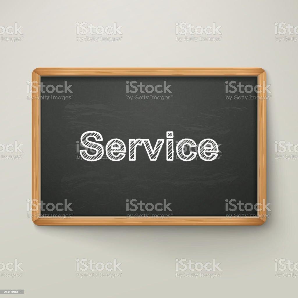service on blackboard in wooden frame vector art illustration