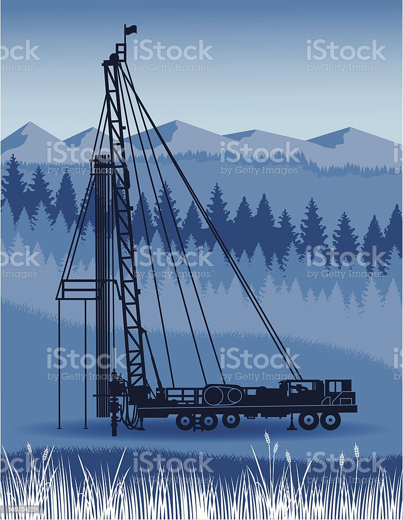 Service Rig in the Foothills royalty-free stock vector art