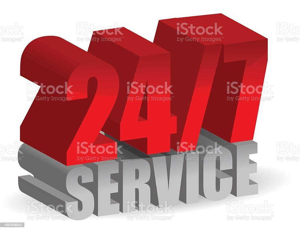 24/7 service vector art illustration