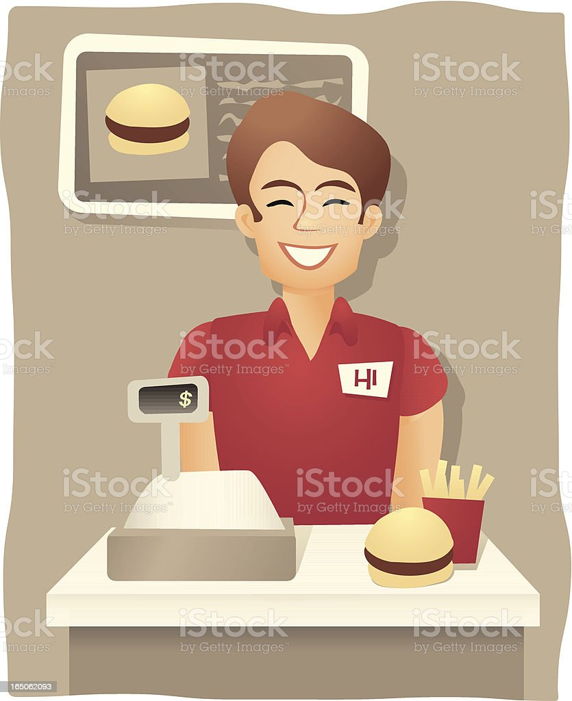Service With A Smile - Fast Food Worker royalty-free stock vector art