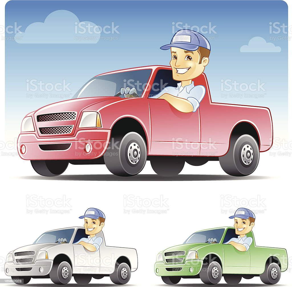 Serviceman, Repairman Driving Work Truck vector art illustration