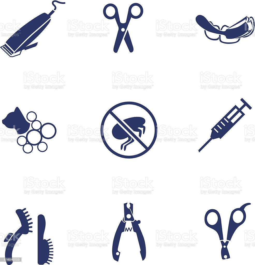 Services for pet icons set vector art illustration