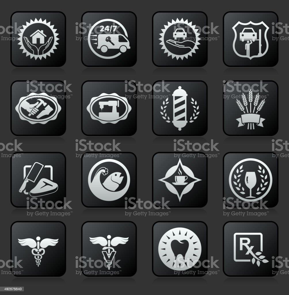 Services icon set on Black Background vector art illustration