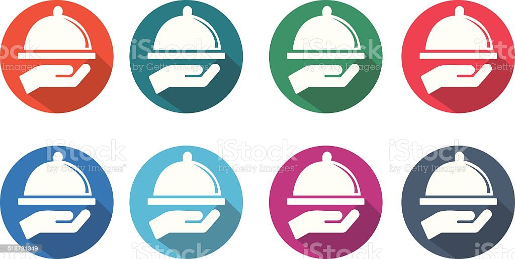 serving food round flat icons vector art illustration