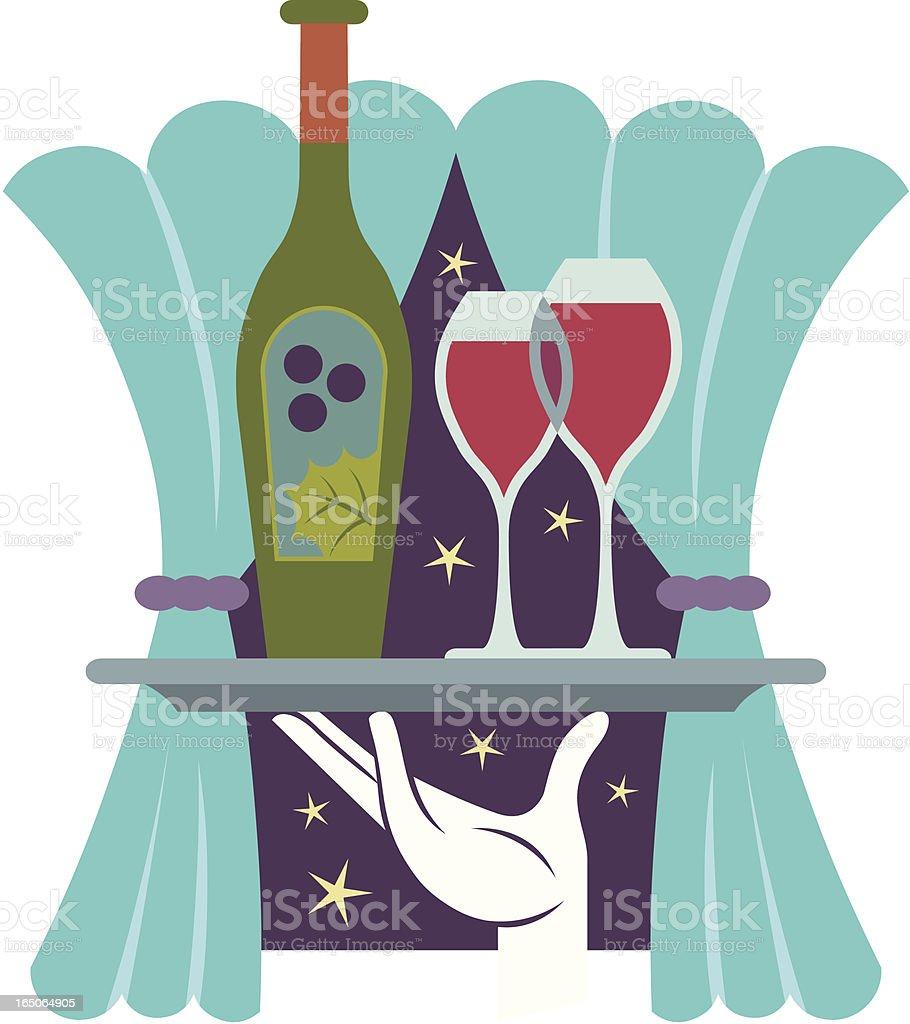 Serving Wine royalty-free stock vector art