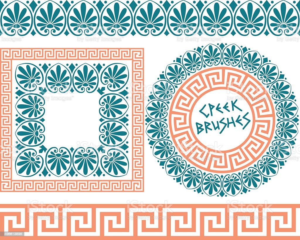 Set 1 Brushes Greek Meander patterns vector art illustration