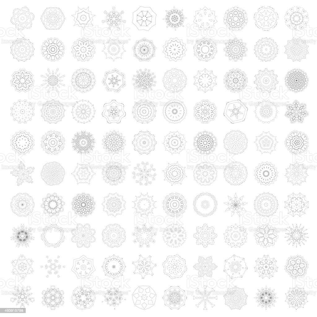 set 100 Mandala floral pattern ornament icon vector art illustration