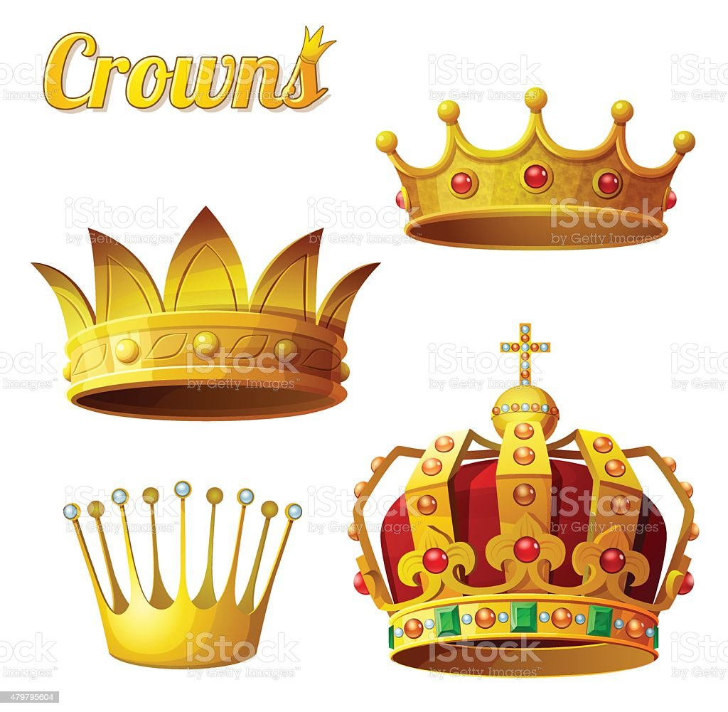Set 3 of royal gold crowns isolated on white. Vector vector art illustration