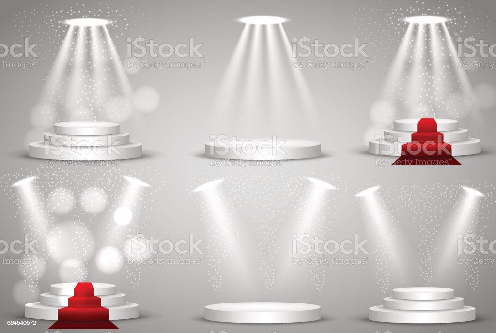 Set 6 podium. Light stage searchlight. Vector 3d illustation. vector art illustration