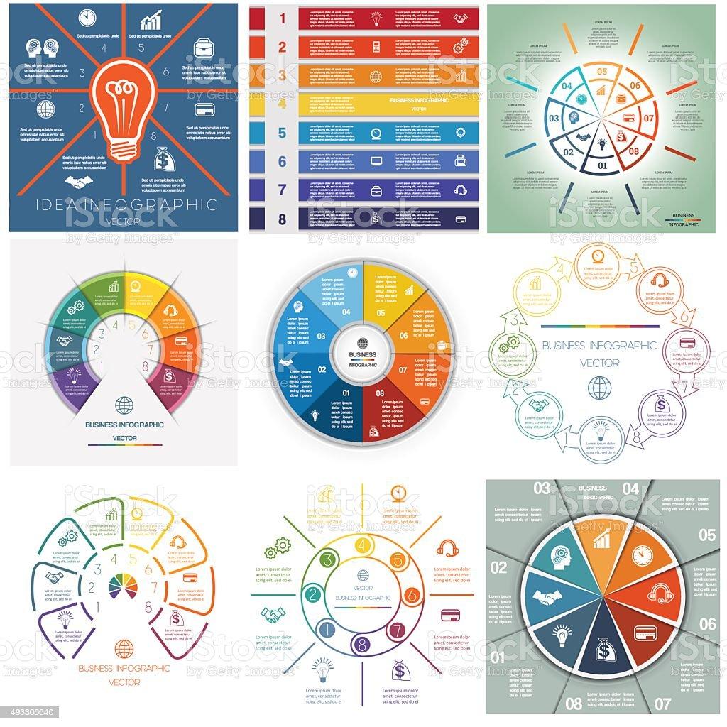Set 9 templates Infographics cyclic processes eight positions vector art illustration