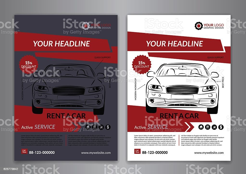 set a5 a4 rent a car business flyer template のイラスト素材