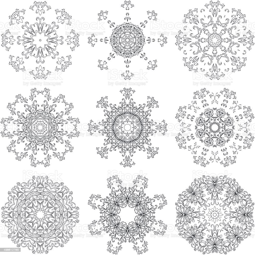 Set abstract floral patterns, contours royalty-free stock vector art