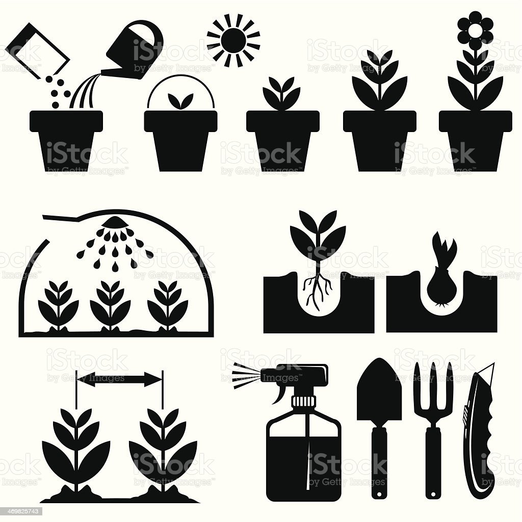 set agrotechnics icons vector art illustration