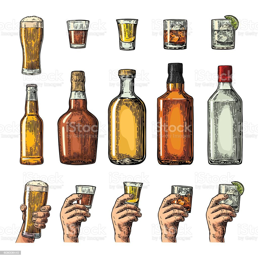 Set alcohol drinks bottle, glass, hand holding beer, gin, tequila vector art illustration