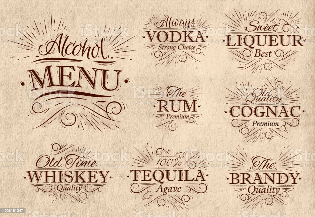 Set alcohol menu retro vector art illustration