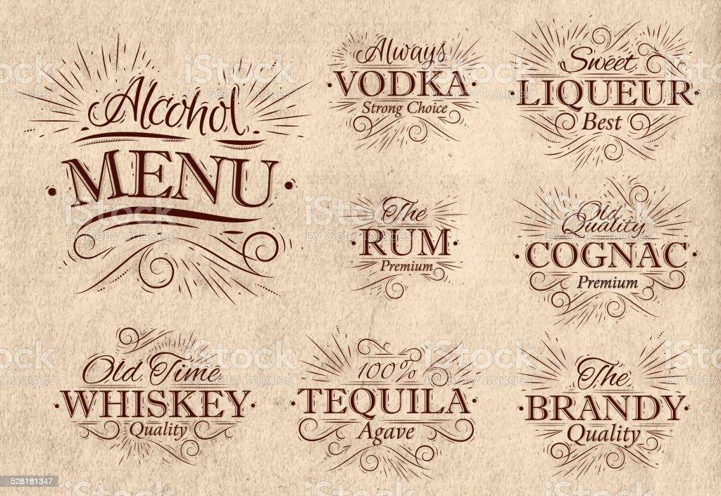 Set alcohol menu retro vector art illustration
