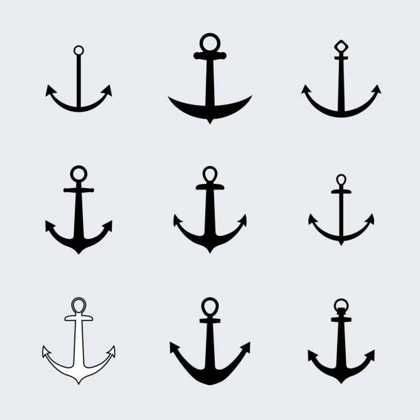 Ship Anchor Chain Silhouettes Clip Art, Vector Images ...