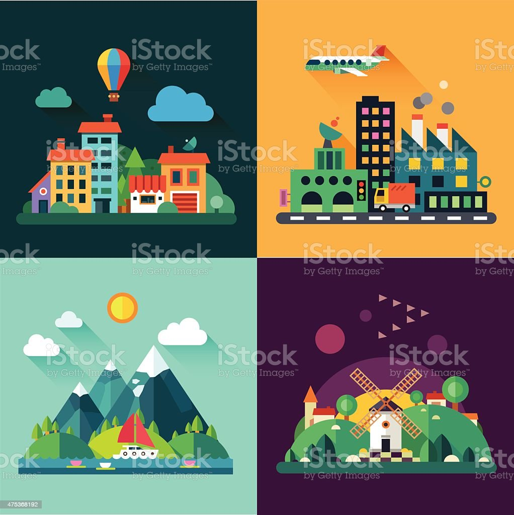 set and illustrations urban and village landscapes vector art illustration