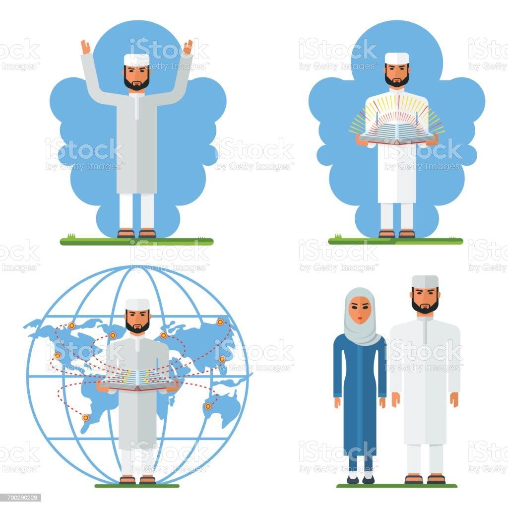 set arabian man vector art illustration