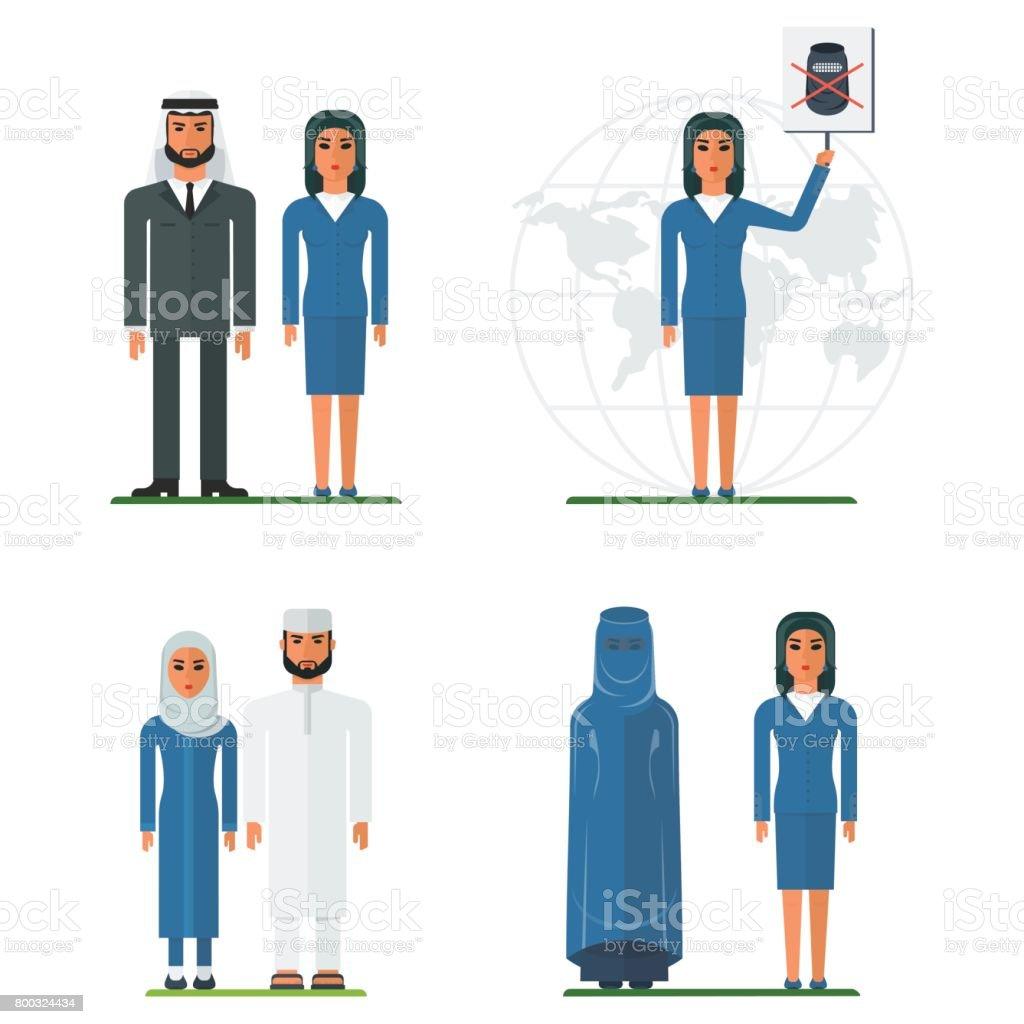 set arabian people vector art illustration