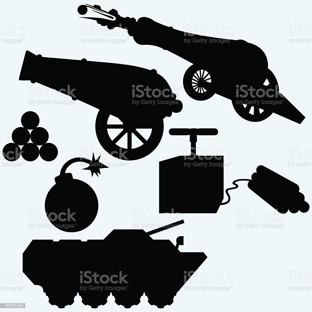 Set artillery, cannon, tank and bombs vector art illustration