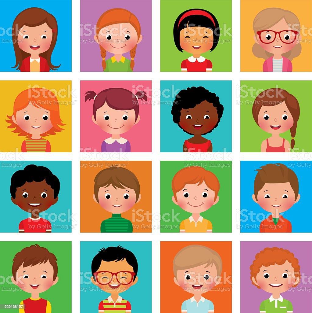 Set avatars boys and girls vector art illustration