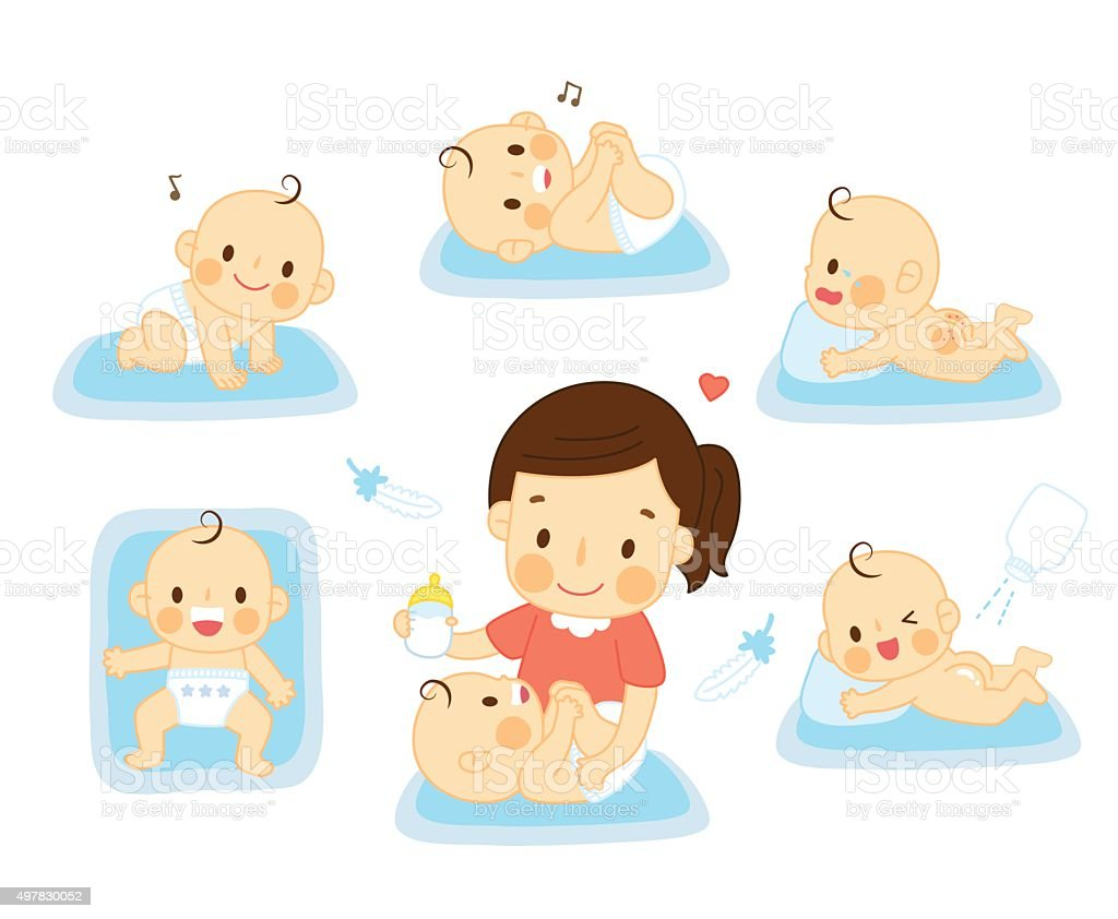 set baby with mother vector art illustration