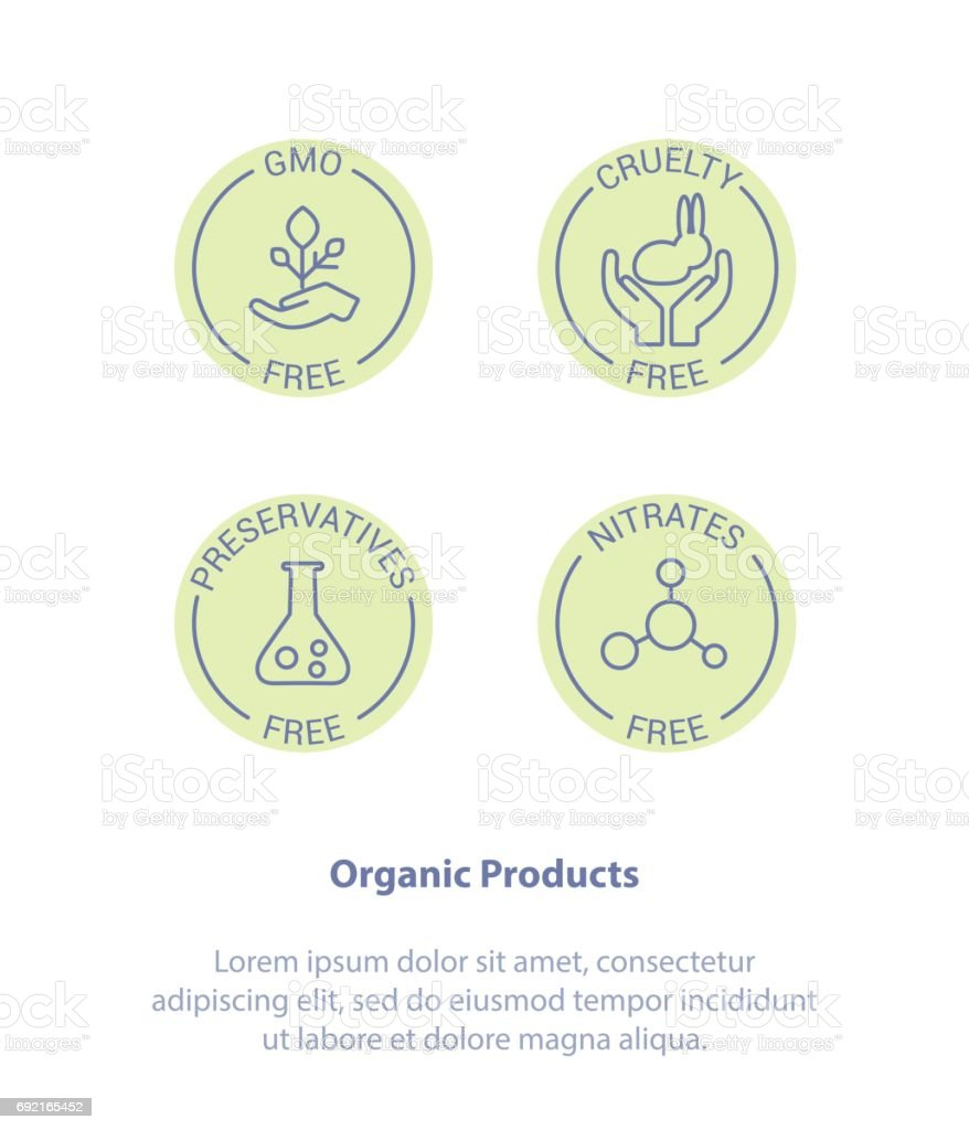 Set Badge Ingredient Warning Label Icons. GMO, Cruelty, Preservatives, Nitrates Free Product Stickers. vector art illustration