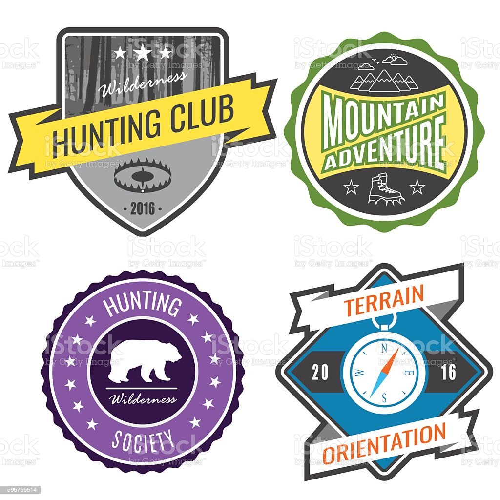 Set badges mountain expeditions and hunting emblem logo vector art illustration