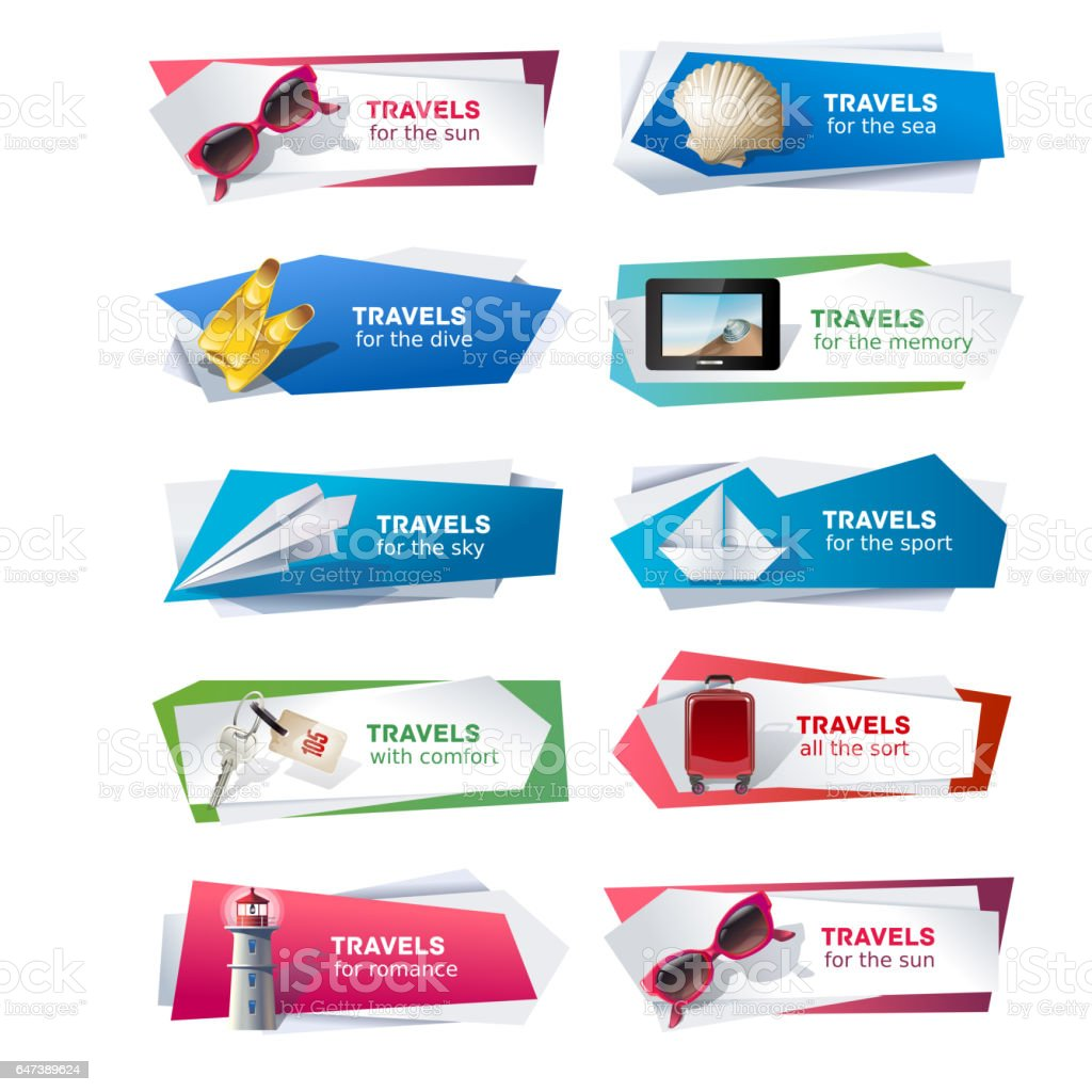 Set banners on the theme of travel vector art illustration