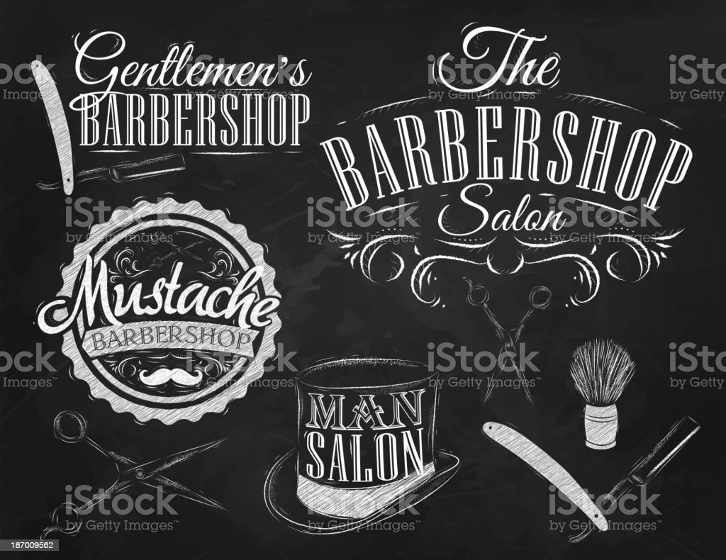 Set Barbershop drawing with chalk vector art illustration