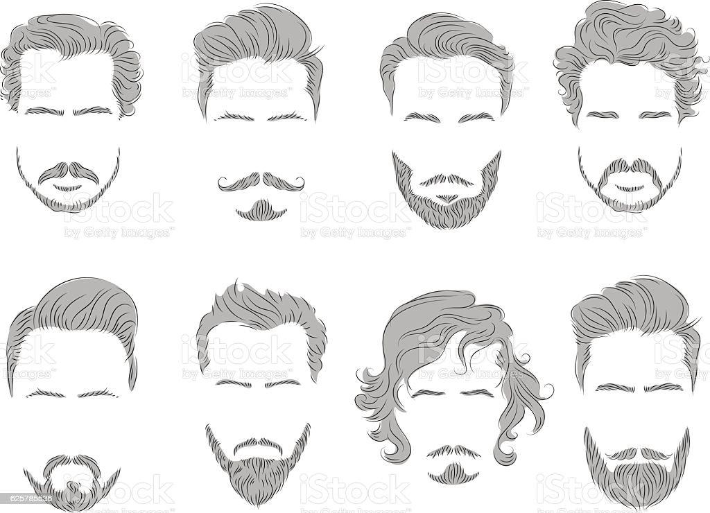 set beard hair mustache man silhouette vector art illustration