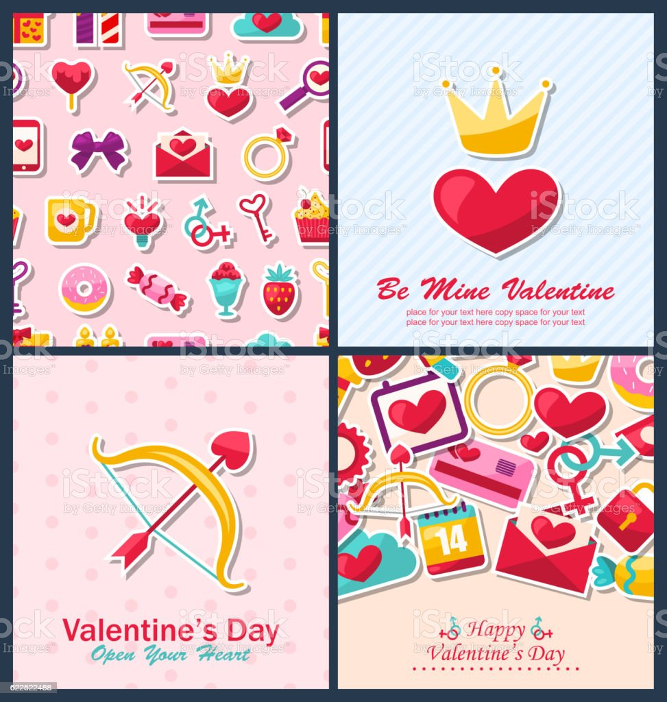 Set Beautiful Brochures with Traditional Objects for Happy Valen vector art illustration