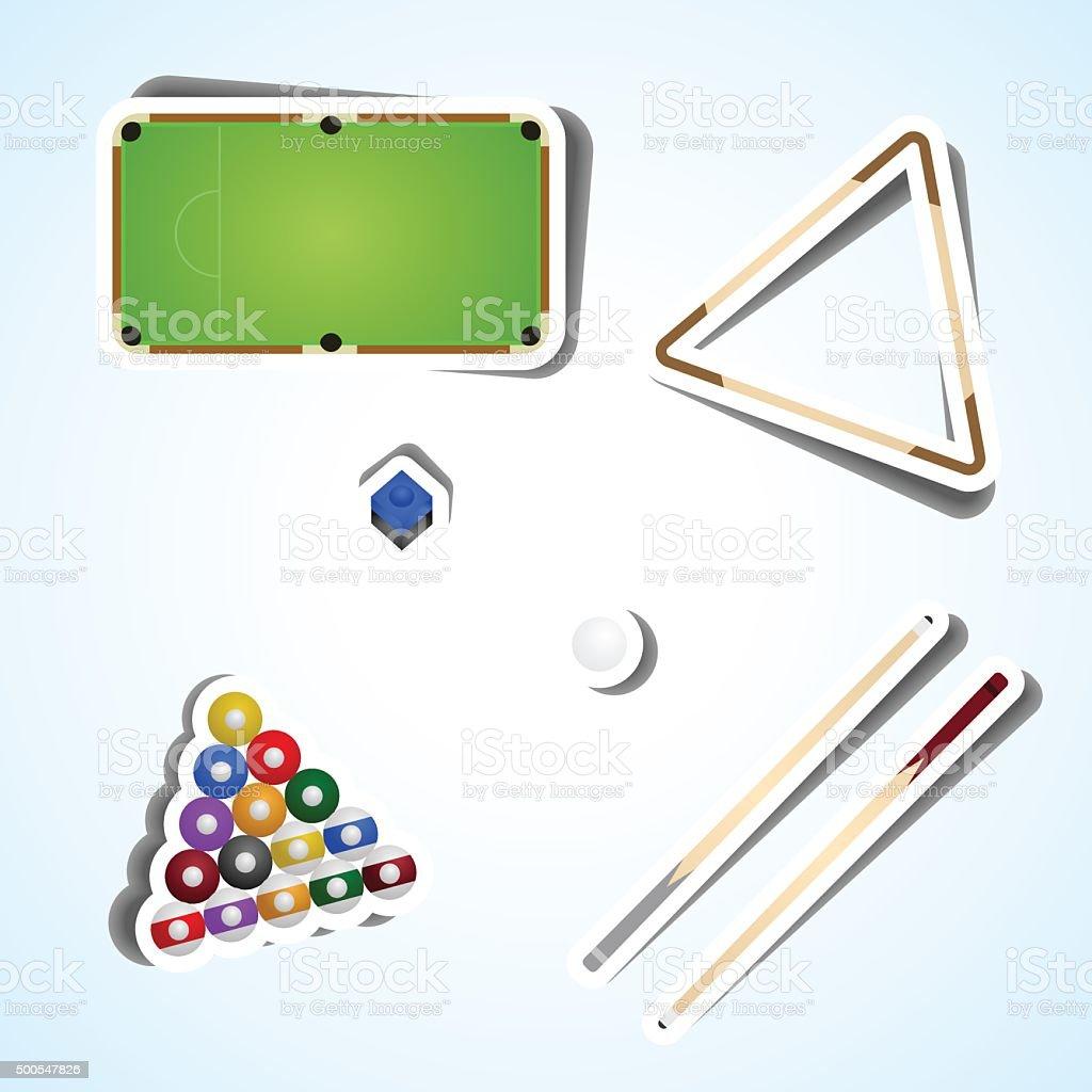 Set billiard vector art illustration