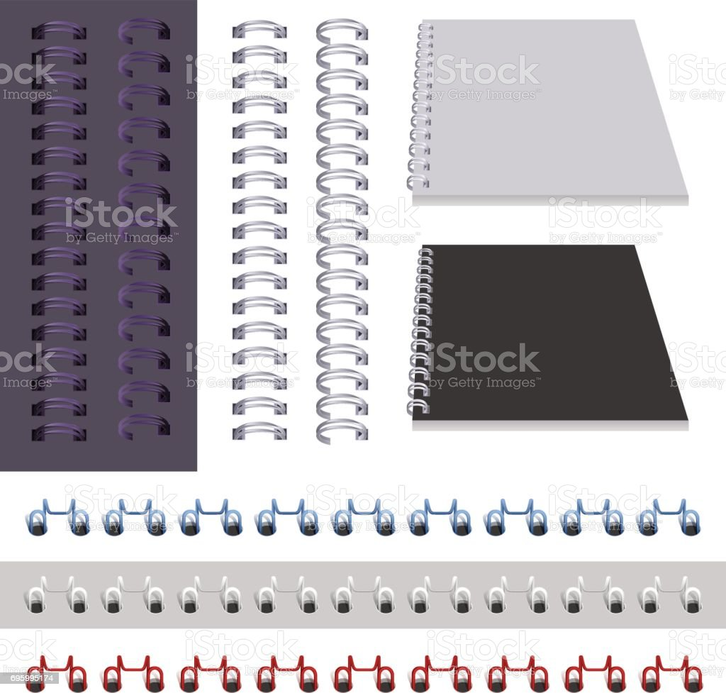 Set binder spring isolated on white vector art illustration