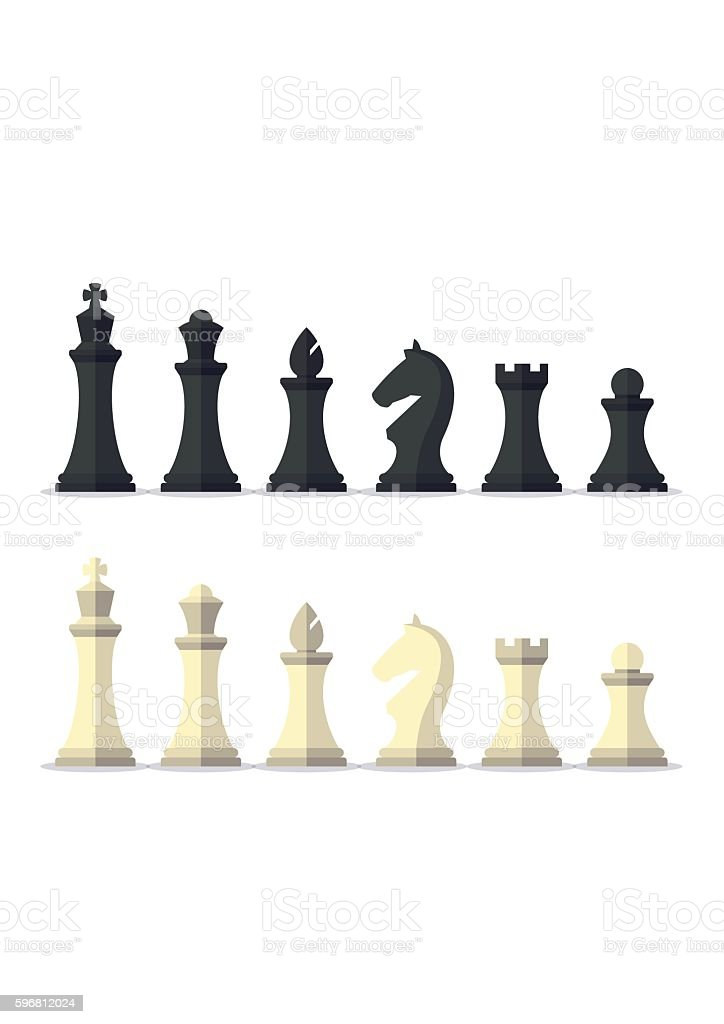 Set black and white chess pieces isolated on background. vector art illustration