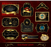 set black gold-framed label