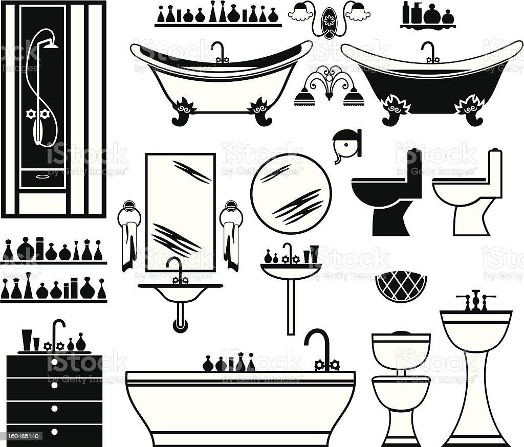 Set black icons of bathroom royalty-free stock vector art