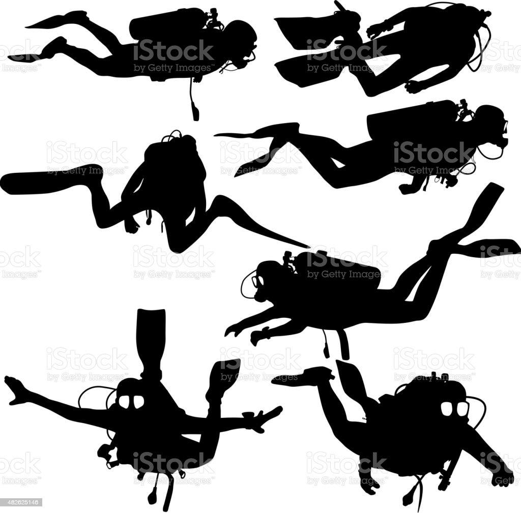Set black silhouette scuba divers. Vector illustration. vector art illustration