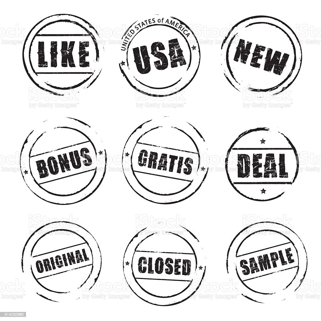 Set black vector grunge stamps. vector art illustration