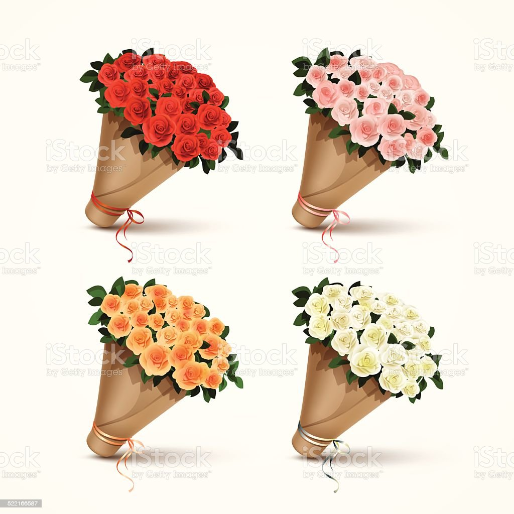 Set Bouquets of Roses Isolated vector art illustration