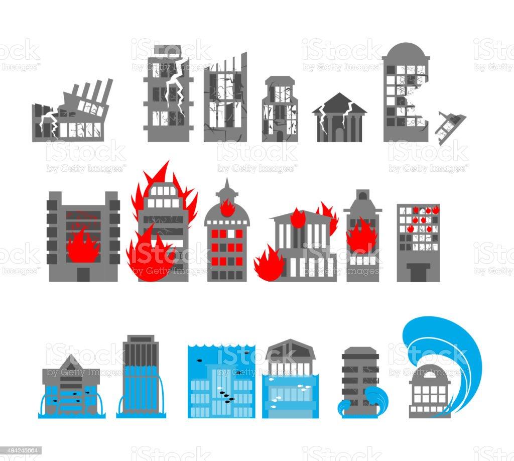Set building disasters destruction. Flood and fire in public bui vector art illustration