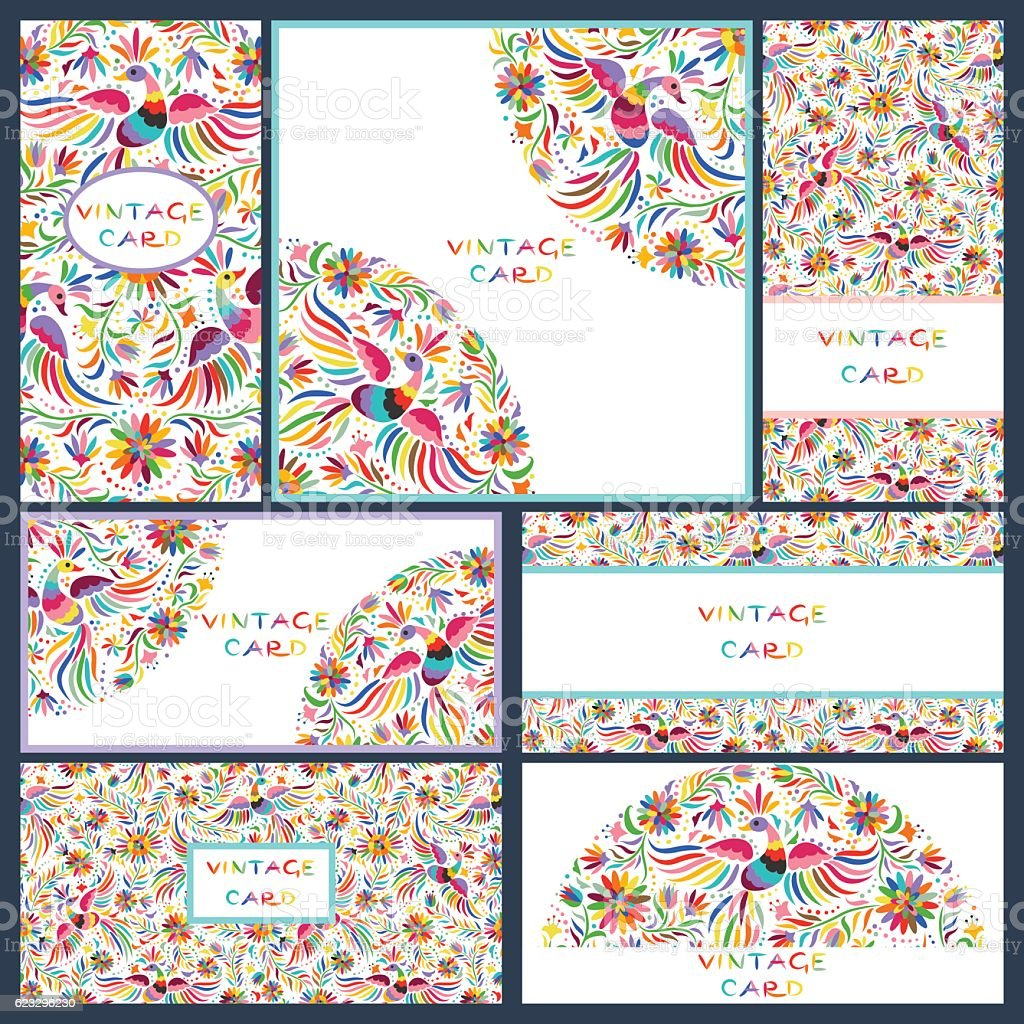Set business cards with Floral Mexican pattern vector art illustration