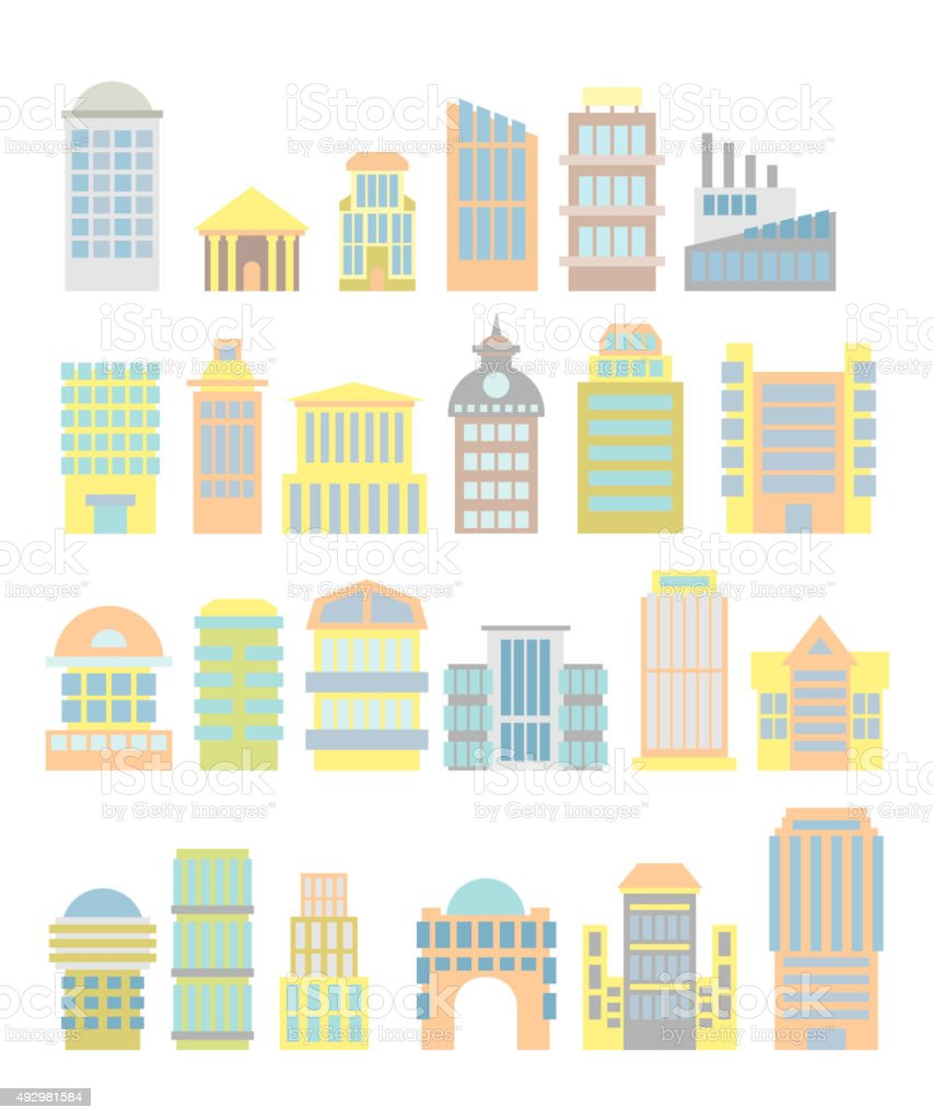 Set Business Property: shopping center and hospital. Tower and a vector art illustration