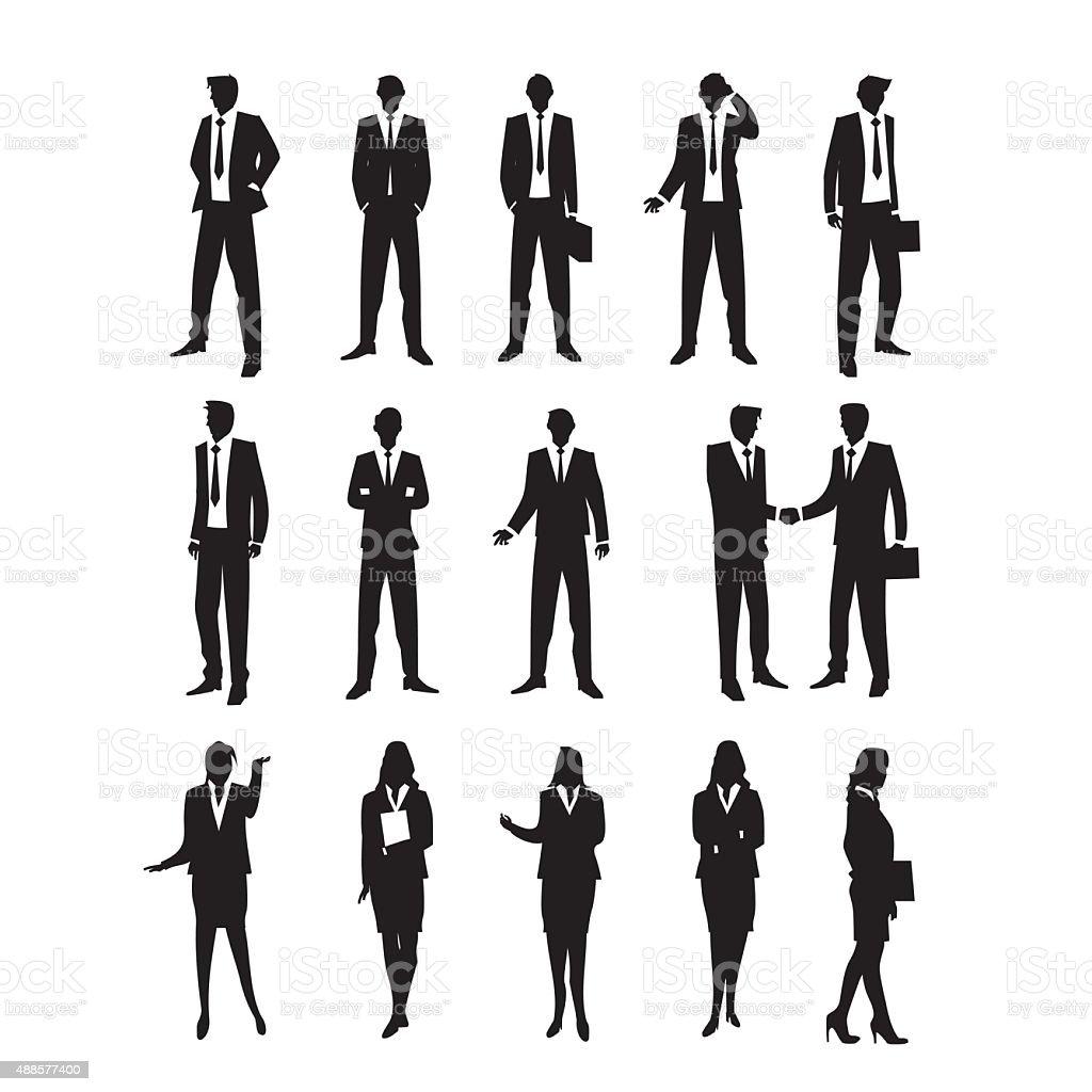 Set Business Silhouetttes vector art illustration