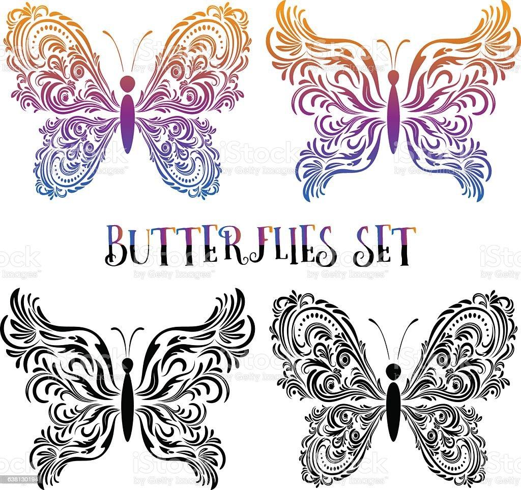 Set Butterflies Contour Pictograms vector art illustration