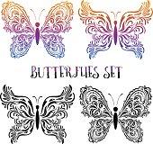 Set Butterflies Contour Pictograms