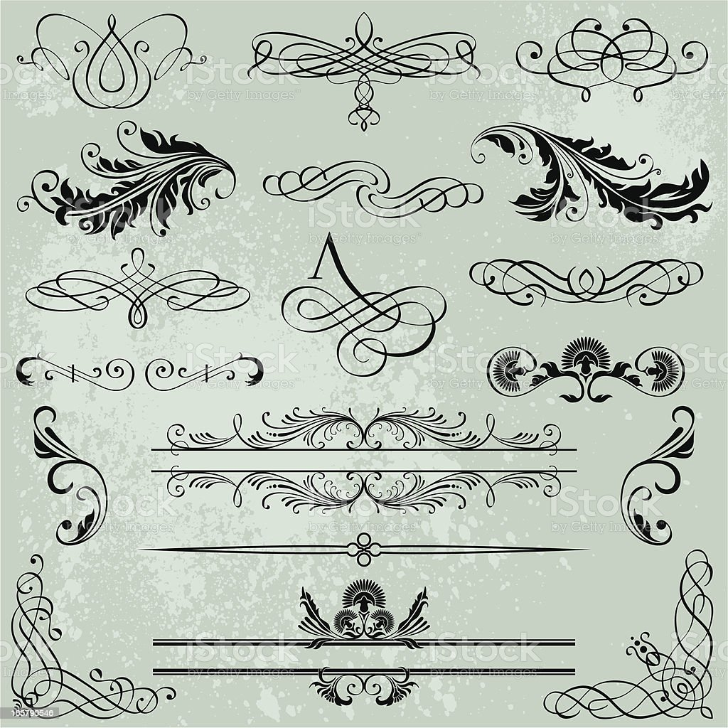 Set Calligraphic Design Elements royalty-free stock vector art