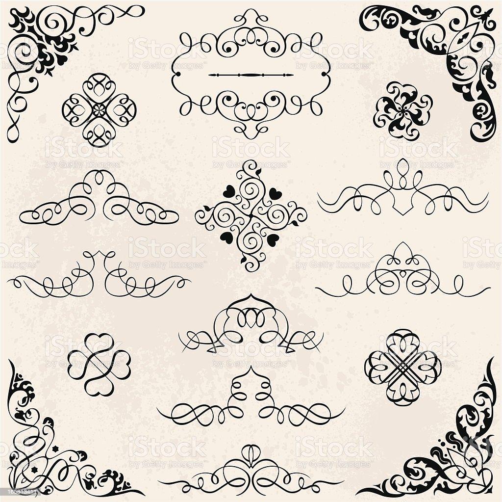Set Calligraphic Design Elements royalty-free stock vector art